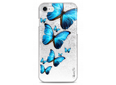Coque iPhone 7/8 Silver glitter Blue beautiful butterflies