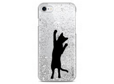 Coque iPhone 7Plus/8Plus Silver glitter Cat let's play together