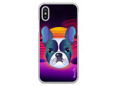 Coque iPhone X Gradient french buldog design