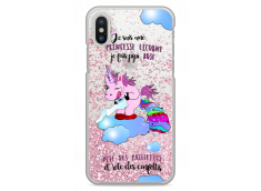 Coque iPhone X Pink glitter Princesse Licorne