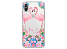 Coque iPhone X Summer flamingo amor