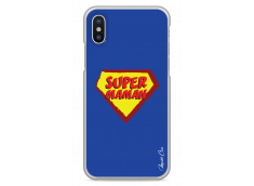 Coque iPhone XS MAX Super Maman - blue design