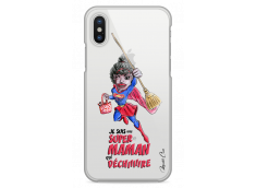 Coque iPhone X Super Maman qui déchire- black watercolor design