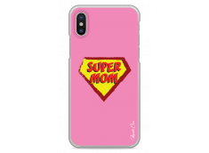 Coque iPhone X Super Mom - pink design