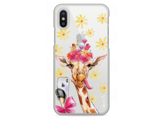 Coque iPhone X Watercolor Floral Giraffe