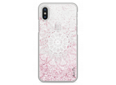 Coque iPhone X Pink glitter - white Mandala