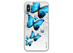Coque iPhone X Silver glitter Blue beautiful butterflies