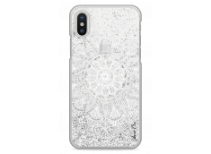 Coque iPhone X Silver glitter - white Mandala
