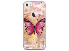 Coque iPhone 5C Pink watercolor butterfly