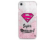 Coque iPhone 7/8 Pink Glitter Super Maman