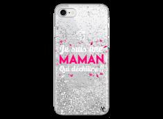 Coque iPhone 7/8 Silver Glitter Je suis une Maman qui Déchire