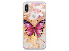 Coque iPhone X Pink watercolor butterfly
