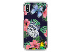 Coque iPhone X Butterflies and flowers watercolor