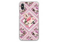 Coque iPhone X Pink geometric flowers