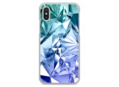 Coque iPhone X Cristal blue geometric design