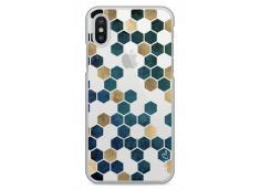 Coque iPhone X Blue & Gold Cubic