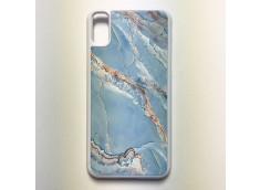 Coque iPhone X/XS Texture Marbre Bleu Pastel