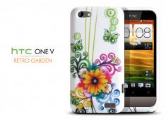 Coque HTC One V Retro Garden