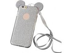 Coque Samsung Galaxy S6 Edge Glitter Mickey-Argent