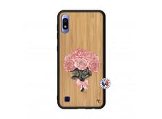 Coque Samsung Galaxy A10 Bouquet de Roses Bois Bamboo