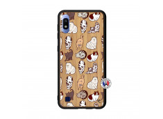 Coque Samsung Galaxy A10 Cat Pattern Bois Bamboo