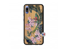 Coque Samsung Galaxy A10 Flower Birds Bois Bamboo