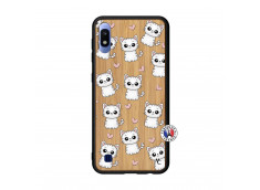 Coque Samsung Galaxy A10 Petits Chats Bois Bamboo