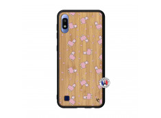 Coque Samsung Galaxy A10 Petits Moutons Bois Bamboo