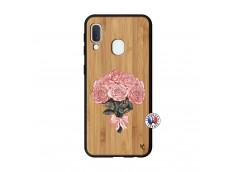 Coque Samsung Galaxy A20e Bouquet de Roses Bois Bamboo