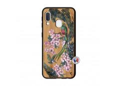 Coque Samsung Galaxy A20e Flower Birds Bois Bamboo