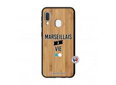 Coque Samsung Galaxy A20e Marseillais à Vie Bois Bamboo