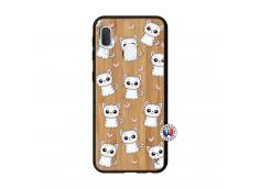 Coque Samsung Galaxy A20e Petits Chats Bois Bamboo