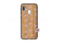Coque Samsung Galaxy A20e Petits Moutons Bois Bamboo