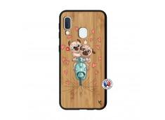 Coque Samsung Galaxy A20e Puppies Love Bois Bamboo