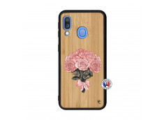 Coque Samsung Galaxy A40 Bouquet de Roses Bois Bamboo