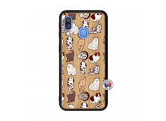 Coque Samsung Galaxy A40 Cat Pattern Bois Bamboo