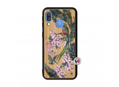 Coque Samsung Galaxy A40 Flower Birds Bois Bamboo