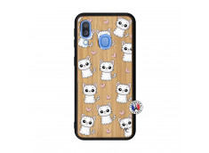 Coque Samsung Galaxy A40 Petits Chats Bois Bamboo