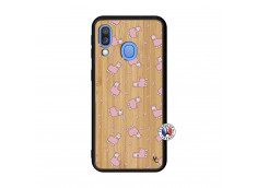 Coque Samsung Galaxy A40 Petits Moutons Bois Bamboo