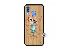Coque Samsung Galaxy A40 Puppies Love Bois Bamboo