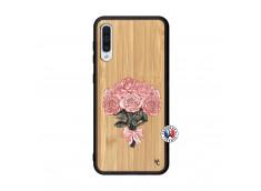 Coque Samsung Galaxy A50 Bouquet de Roses Bois Bamboo