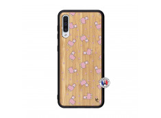 Coque Samsung Galaxy A50 Petits Moutons Bois Bamboo