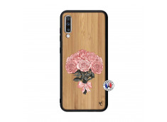 Coque Samsung Galaxy A70 Bouquet de Roses Bois Bamboo
