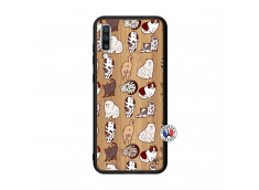 Coque Samsung Galaxy A70 Cat Pattern Bois Bamboo