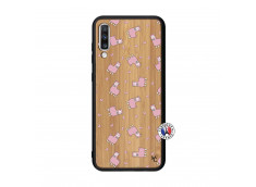 Coque Samsung Galaxy A70 Petits Moutons Bois Bamboo