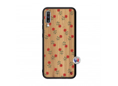 Coque Samsung Galaxy A70 Rose Pattern Bois Bamboo