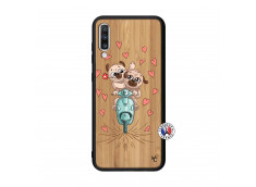 Coque Samsung Galaxy A70 Puppies Love Bois Bamboo