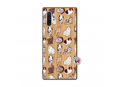 Coque Samsung Galaxy Note 10 Plus Cat Pattern Bois Bamboo