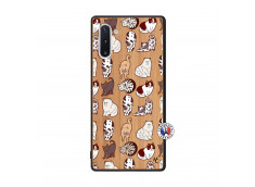 Coque Samsung Galaxy Note 10 Cat Pattern Bois Bamboo