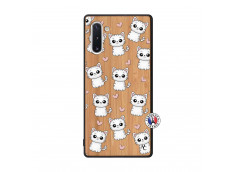Coque Samsung Galaxy Note 10 Petits Chats Bois Bamboo